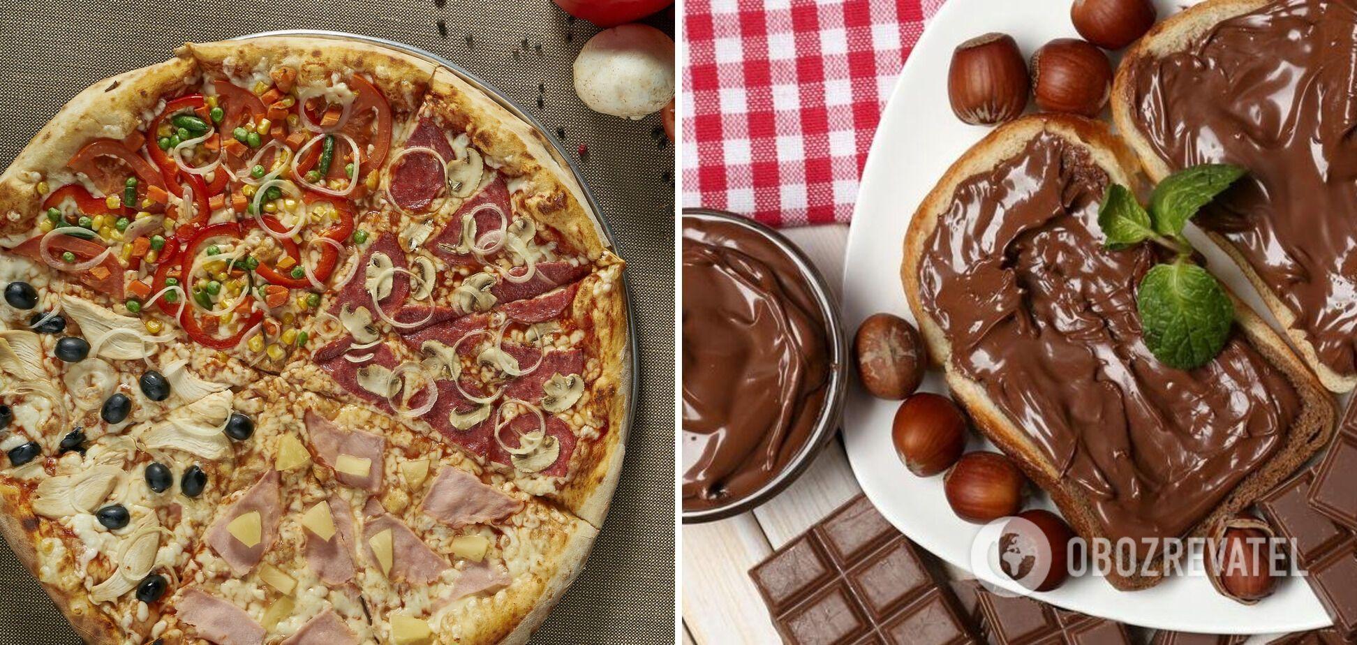 Пицца с шоколадной пастой