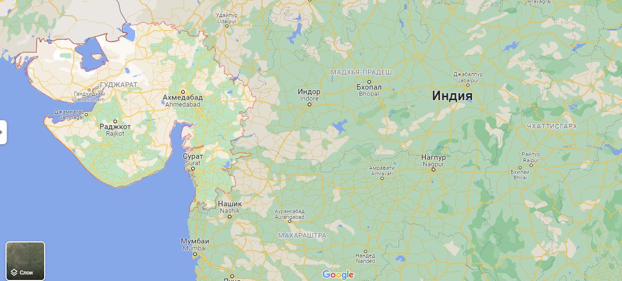 Гуджарат на карте