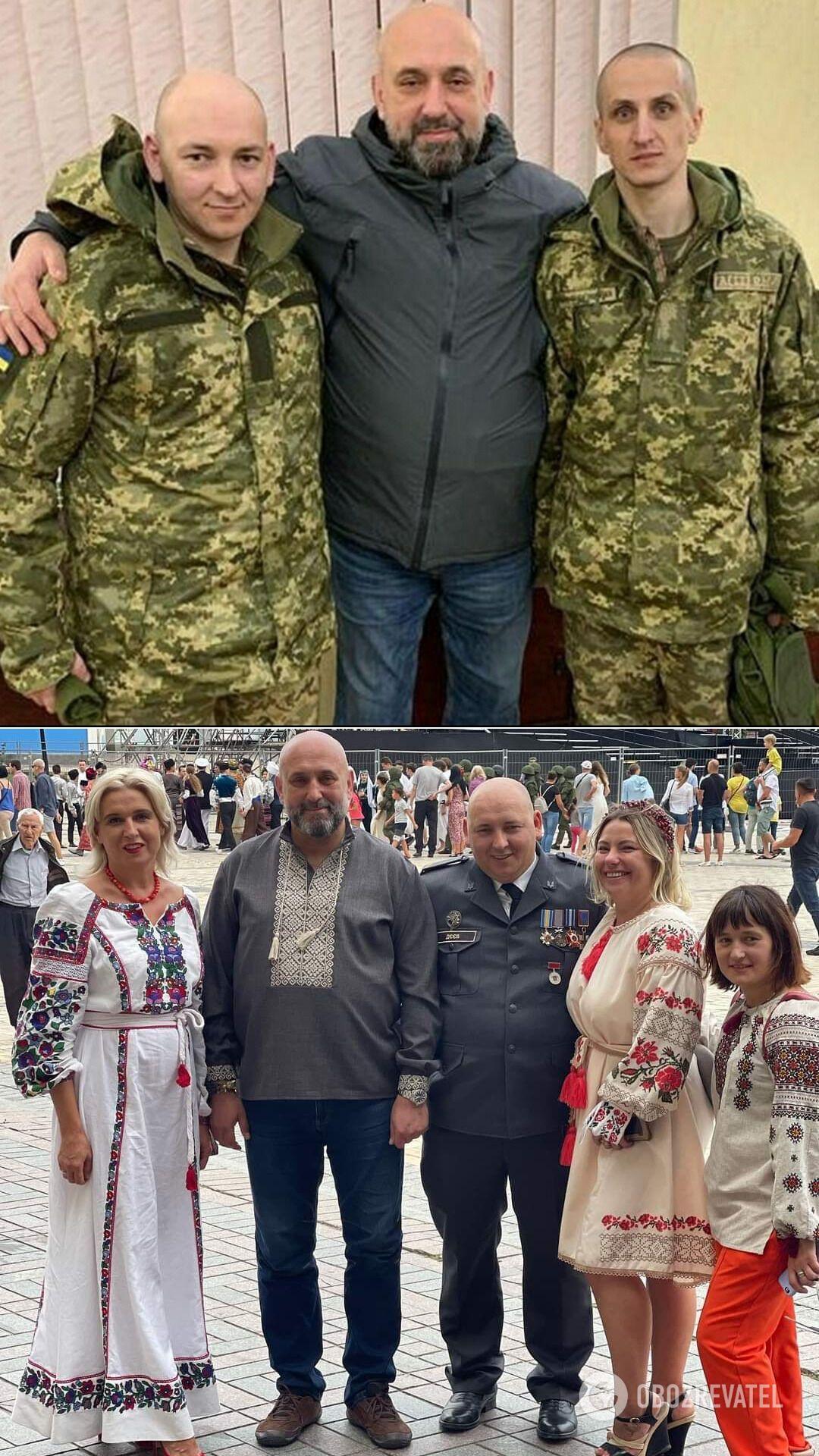 Разведчики Деев и Иванчук с Сергеем Кривоносом сразу после освобождения из плена. Внизу – Иван с Людмилой, друзьями-волонтерами и Сергеем Кривоносом в День Независимости.