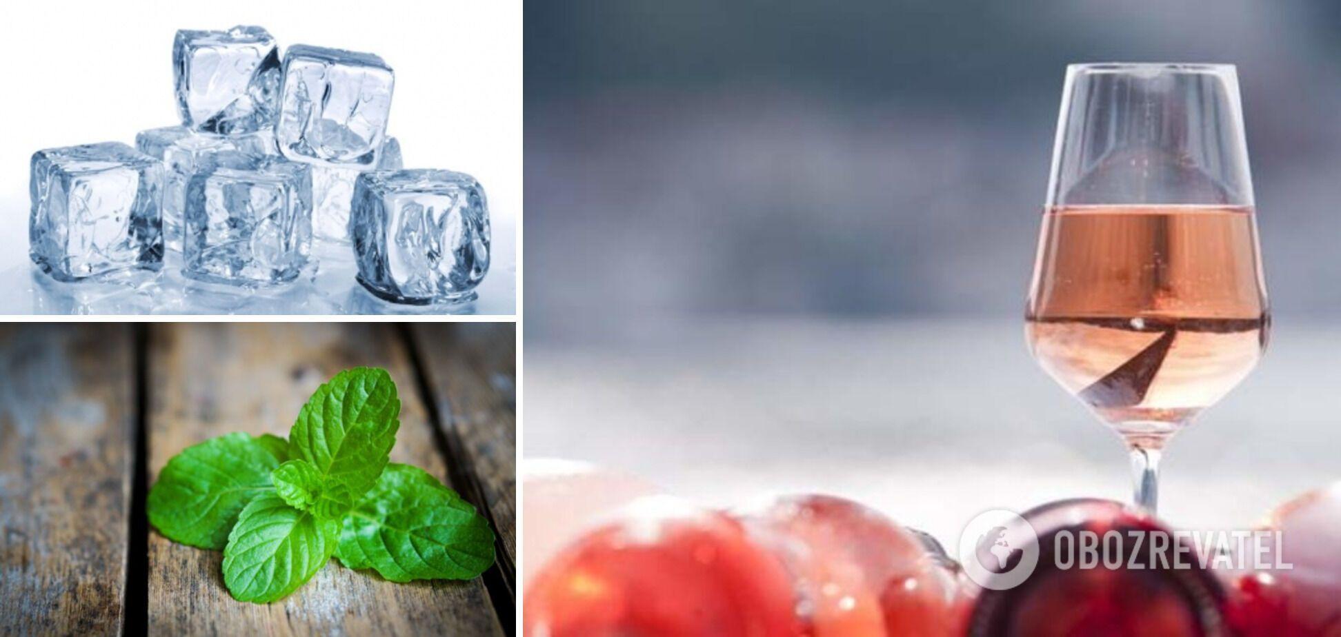 Ингредиенты для сангрии – вино, лед, мята
