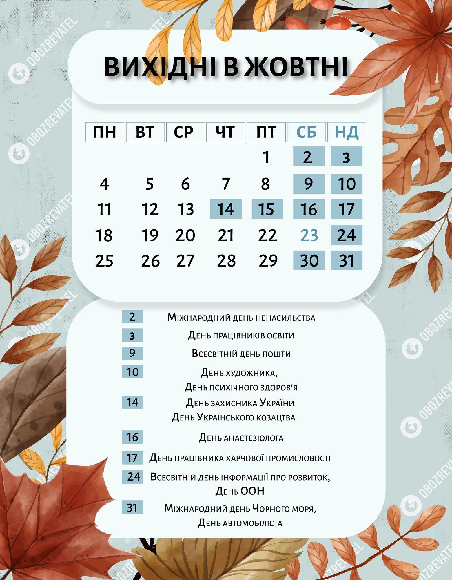 Вихідні в жовтні 2021 року в Україні