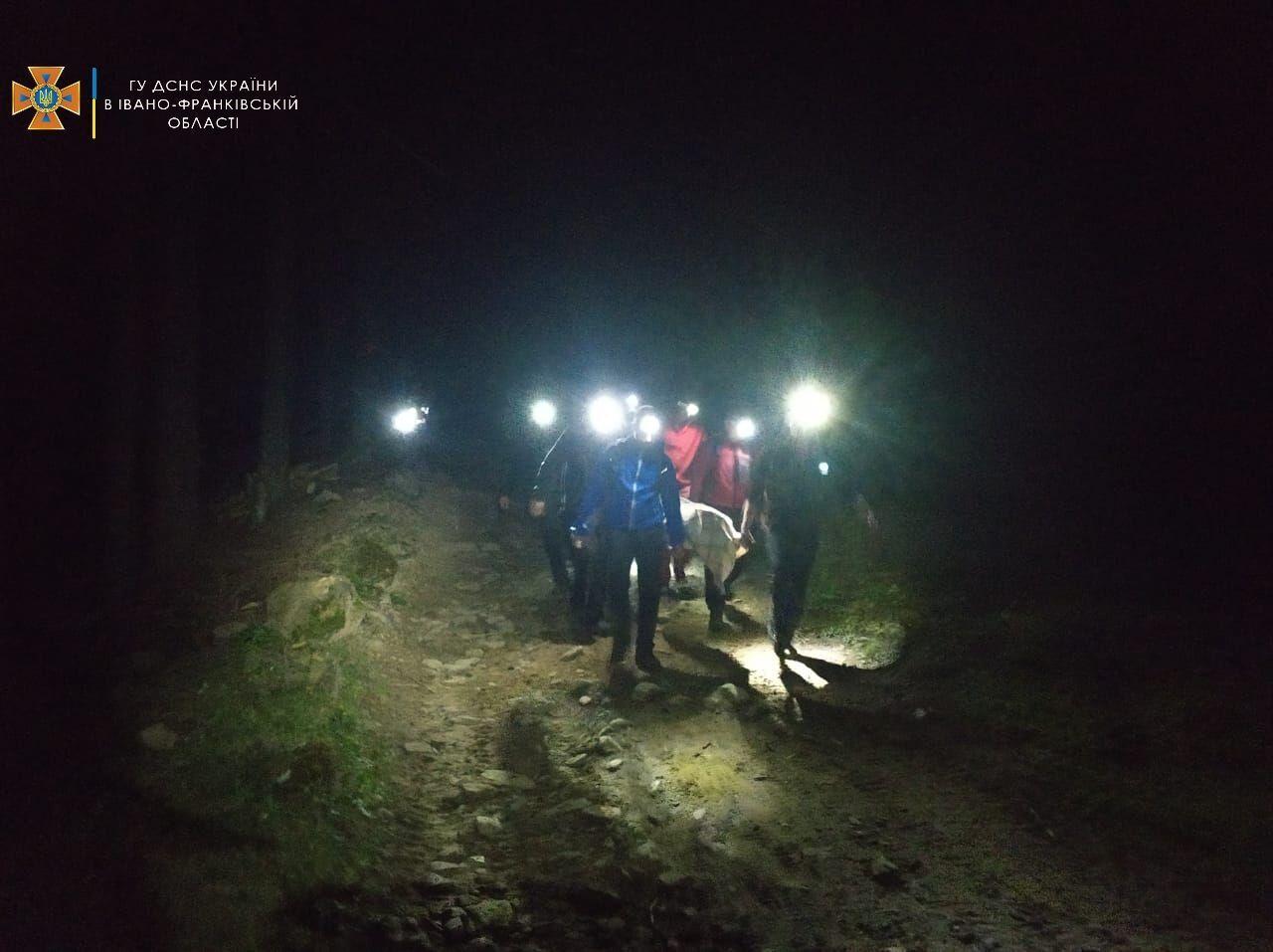 Спасатели ночью спускали травмированных туристов из долины