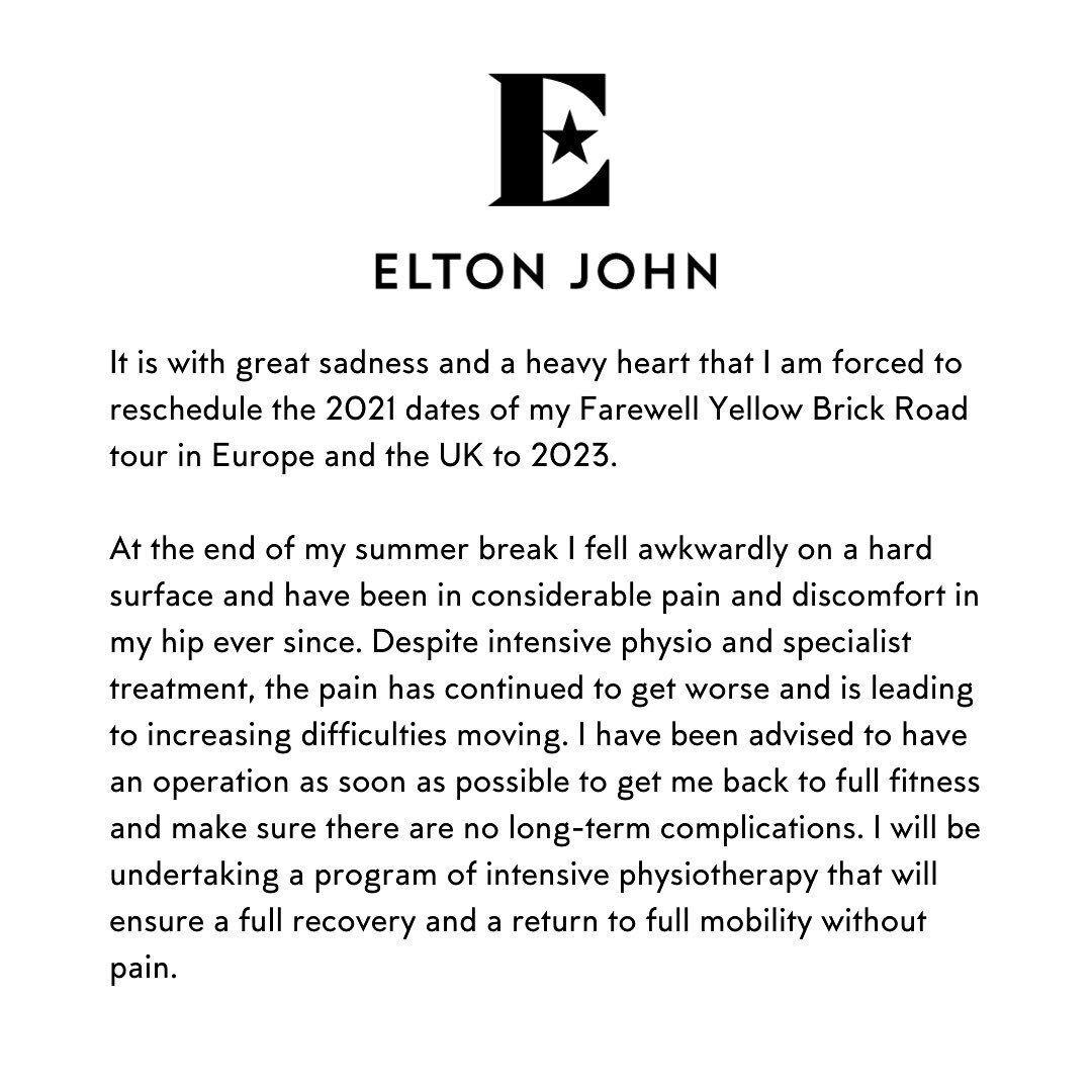 Елтон Джон заявив про травму.