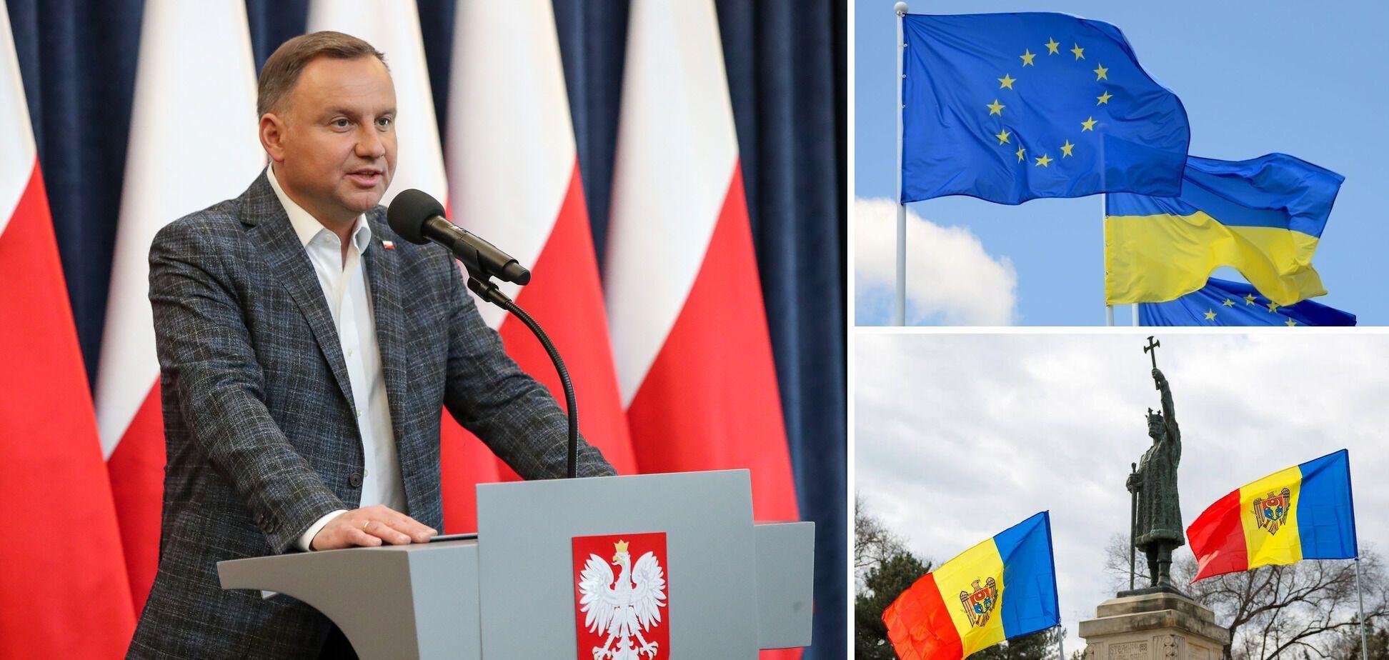 Дуда висловив переконання, що Україна та Молдова мають стати членами ЄС
