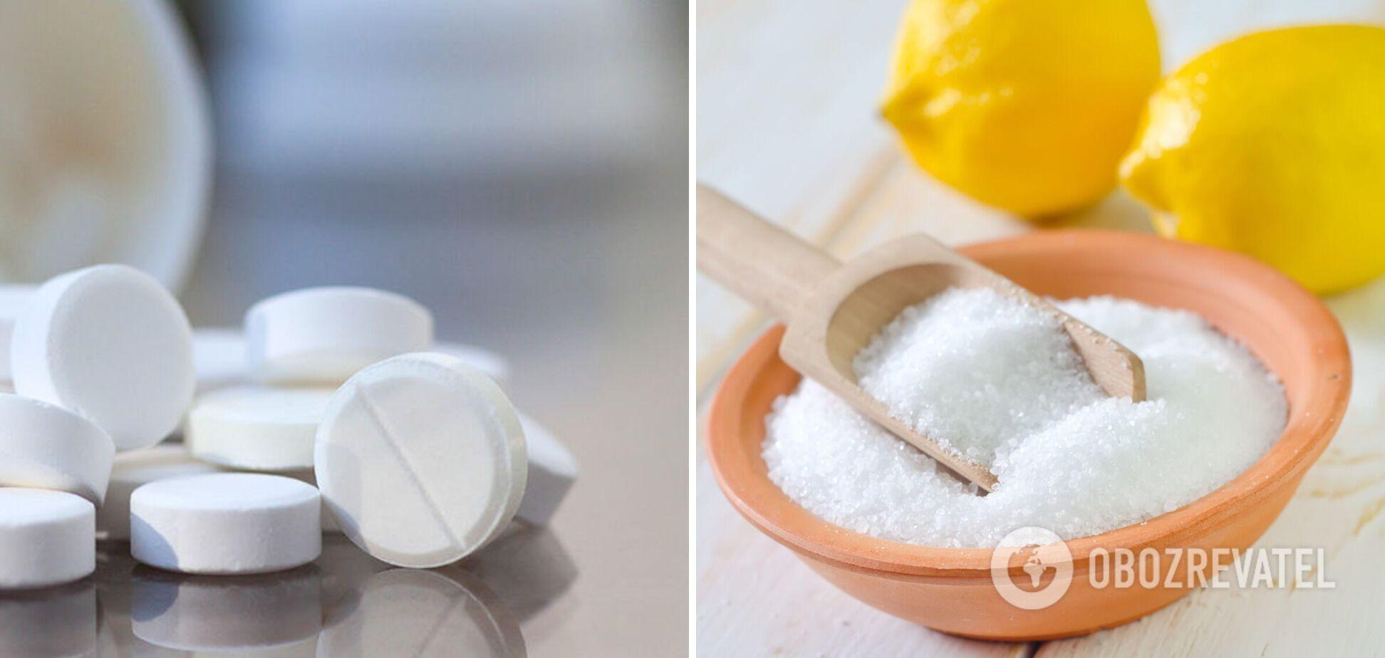 Таблетки аспірину, лимонна кислота