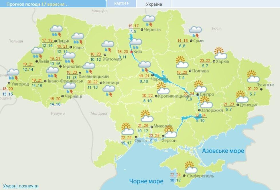 Прогноз погоди в Україні на 17 вересня