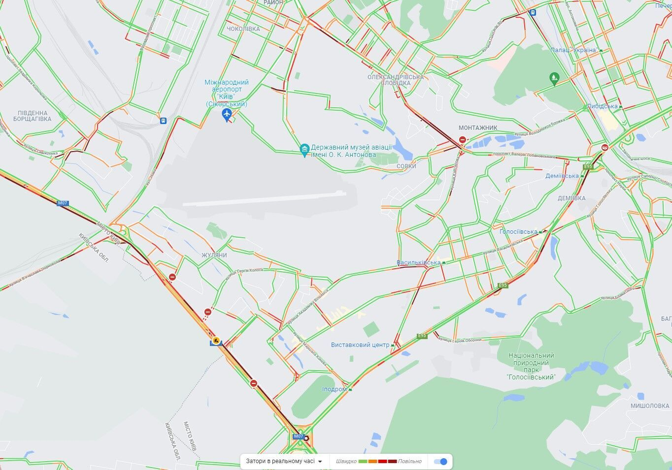 Голосеевский, Лобановского проспекты и Кольцевая дорога.