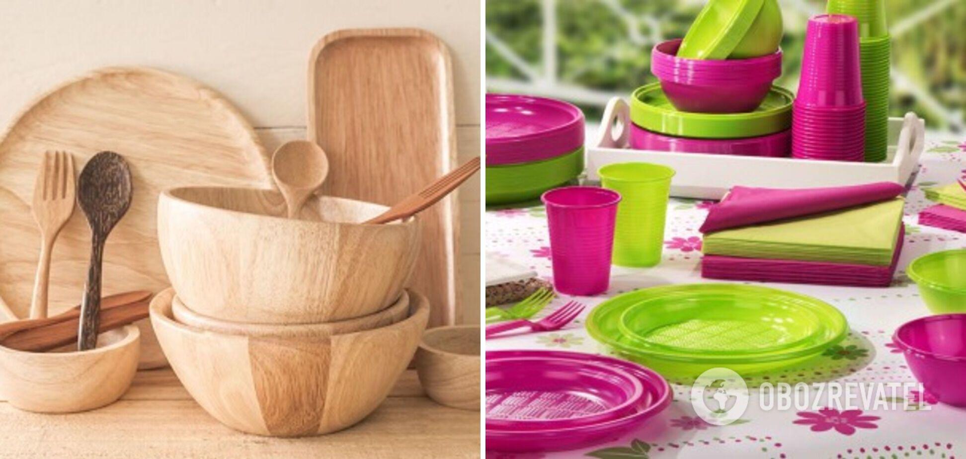 Одноразовий пластиковий посуд та посуд з дерева
