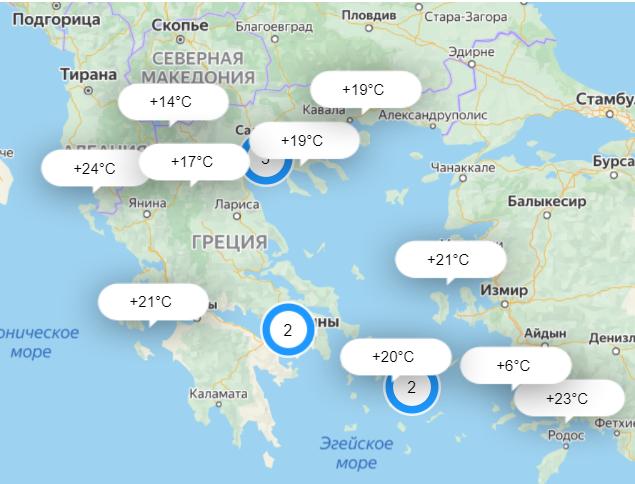 Температура воздуха в Греции в октябре.