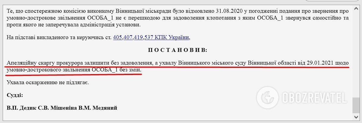 Решение Винницкого апелляционного суда.