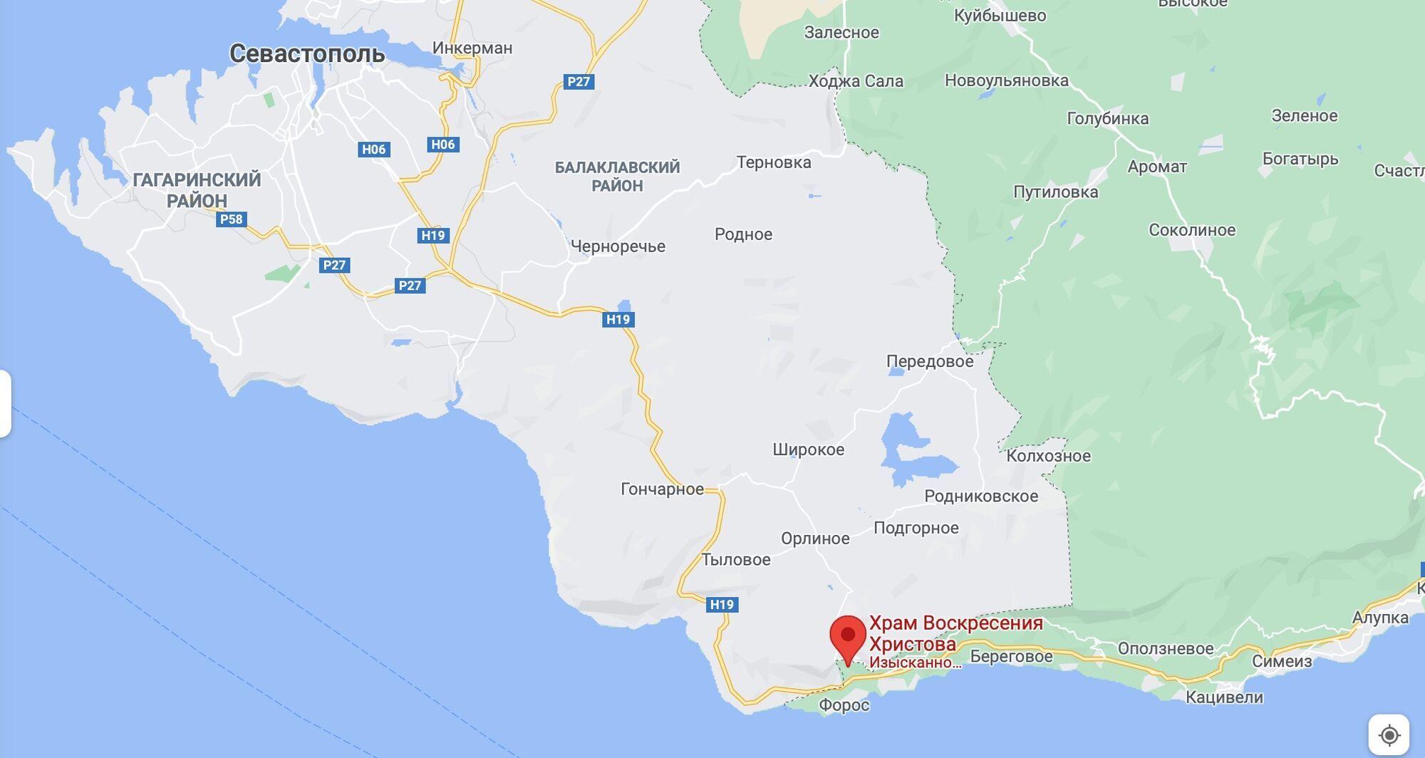 Инцидент произошел в районе Форосской церкви