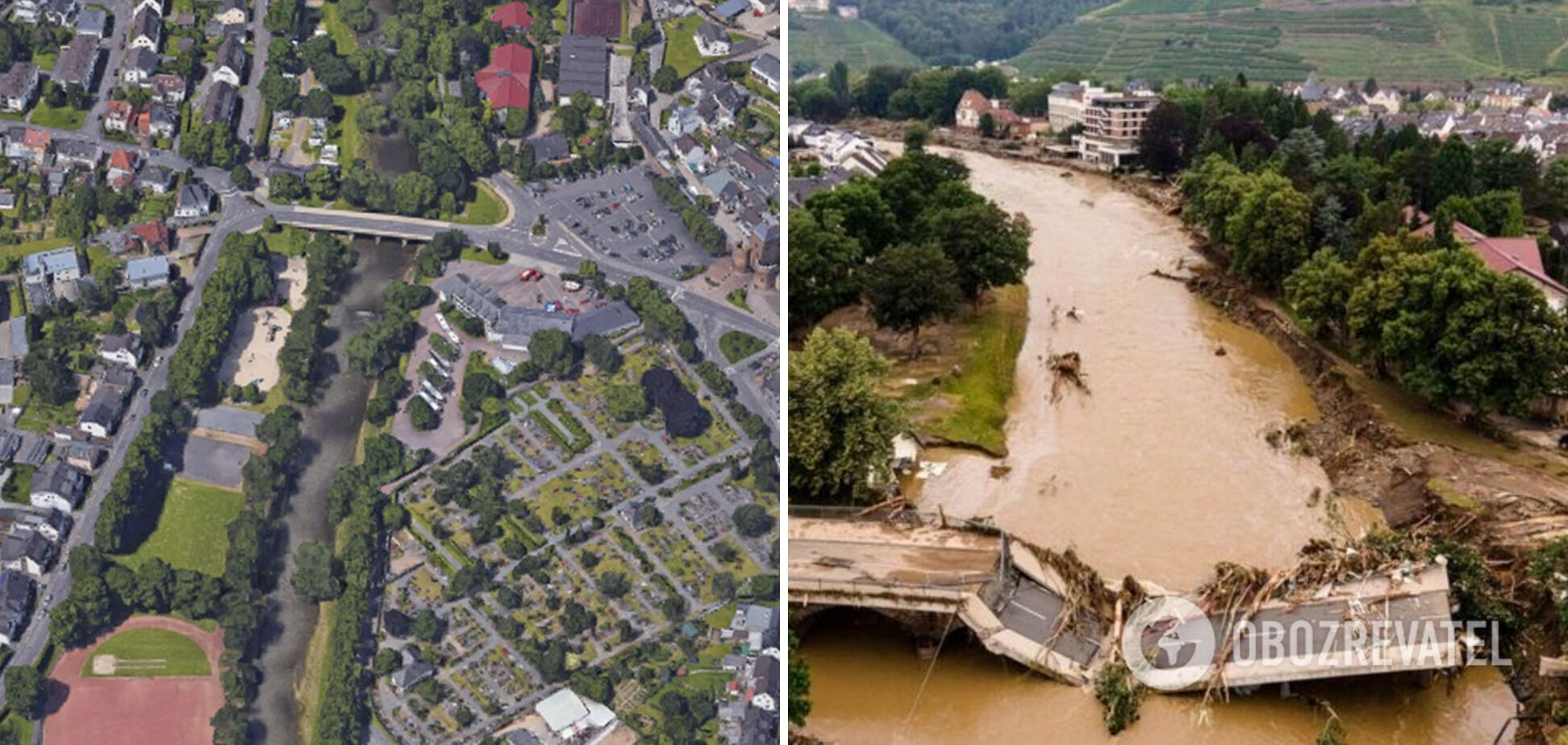 Город Бад-Ноенар-Арвайлер до и после наводнения.