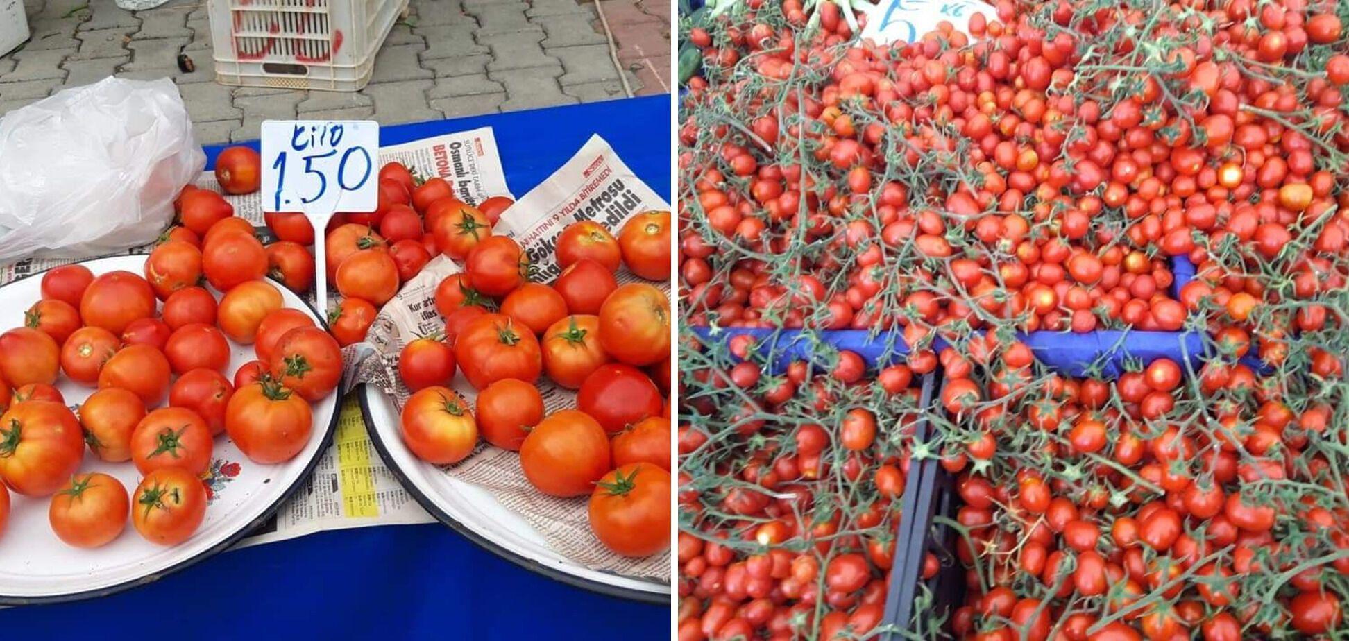 Обычные помидоры по пять гривен, черри дороже, 15 за килограмм.