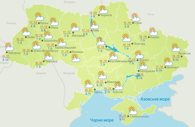Українців очікує сонячний день.