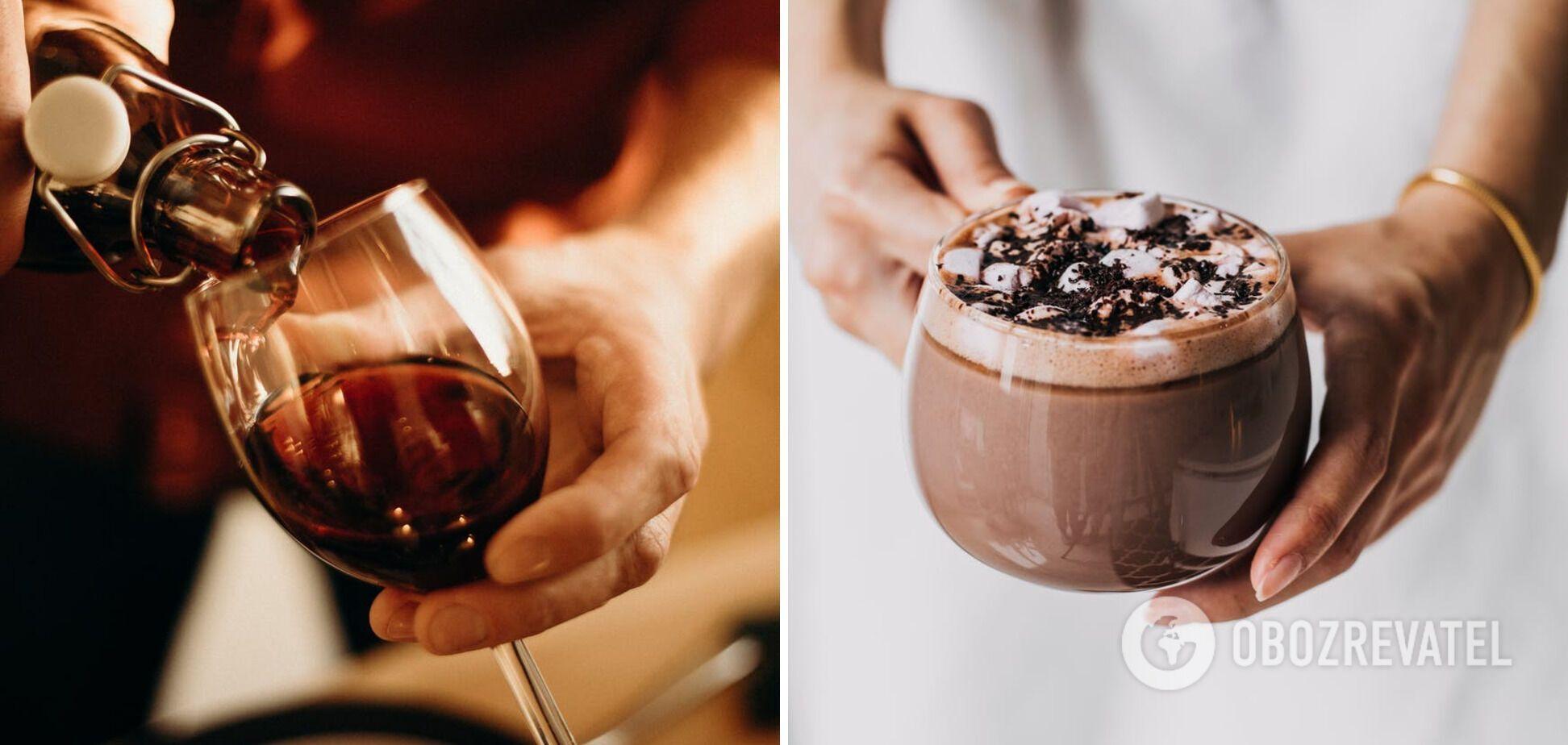 Горячий шоколад на основе вина