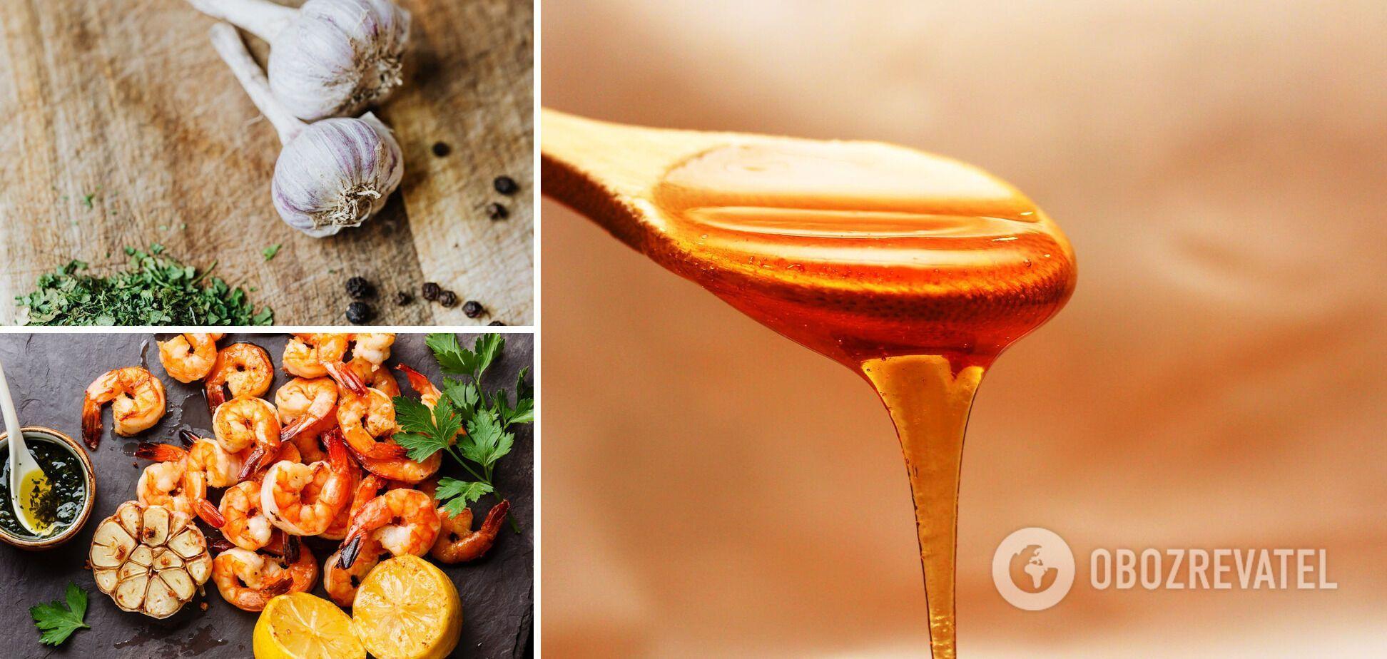 Креветки в чесночно-медовом соусе