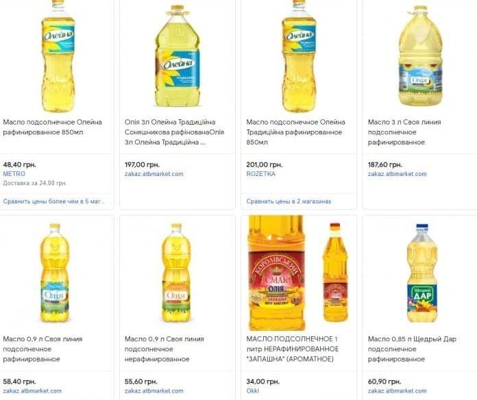Цены на масло в Украине
