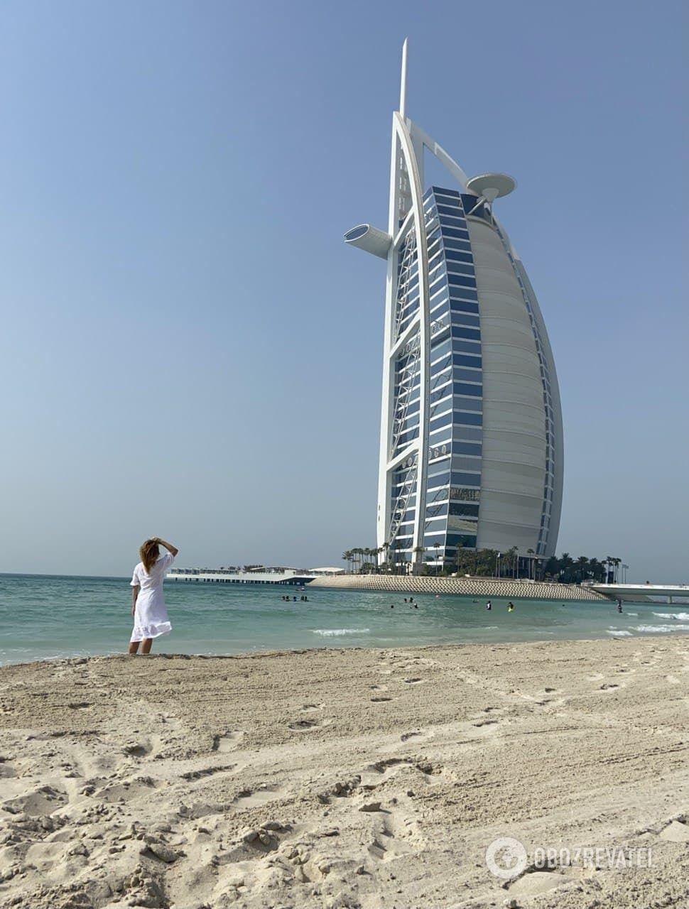 Вид с пляжа на отель Бурдж Аль Араб.