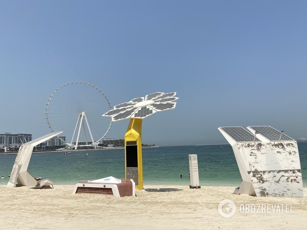 Бесплатный муниципальный пляж в Dubai Marina.
