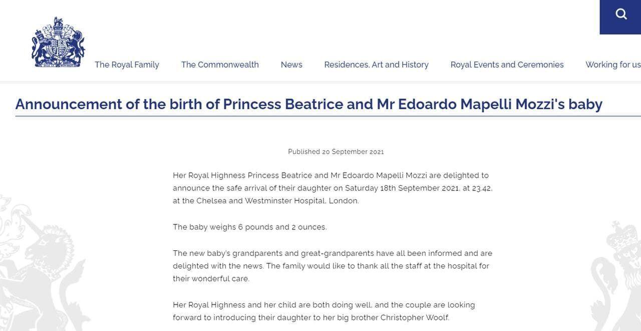 Сообщение королевской семьи