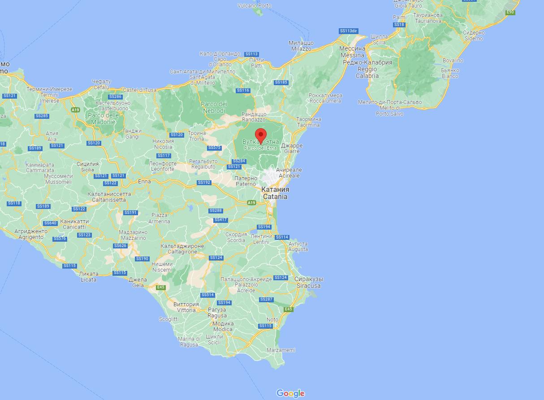 Расположение вулкана Этна.
