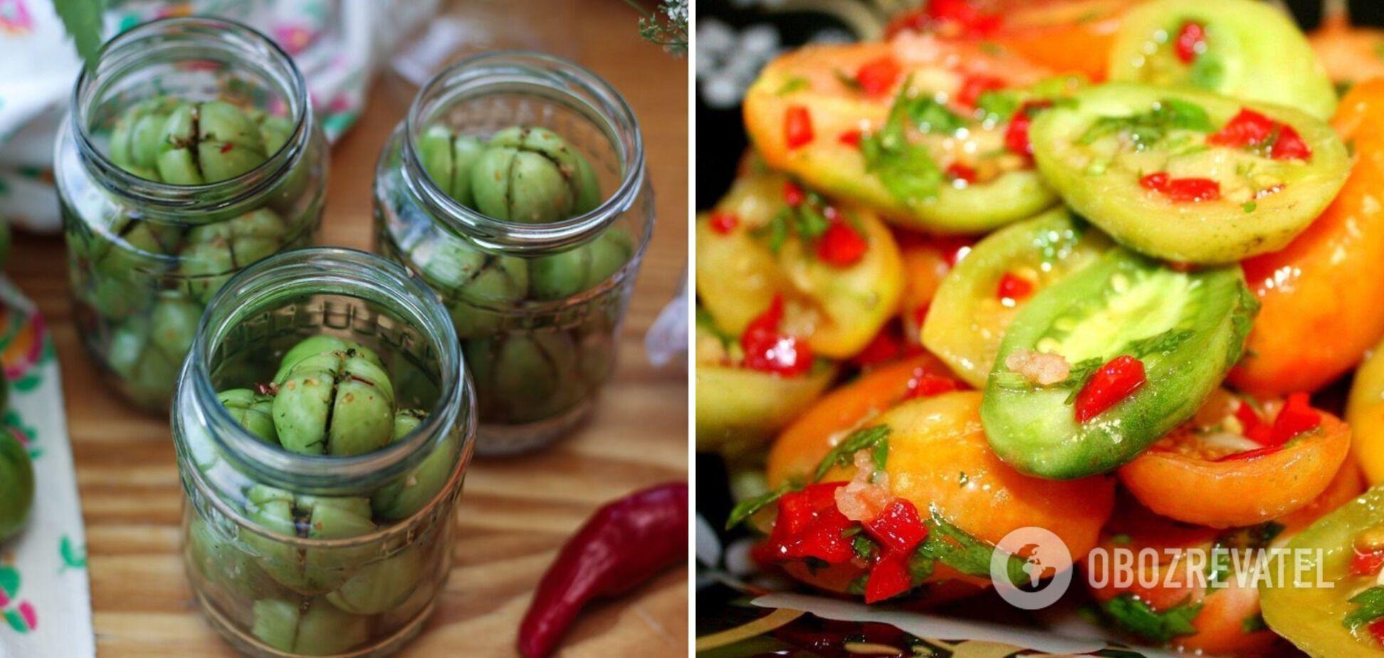 Салат із зелених помідорів з аджикою