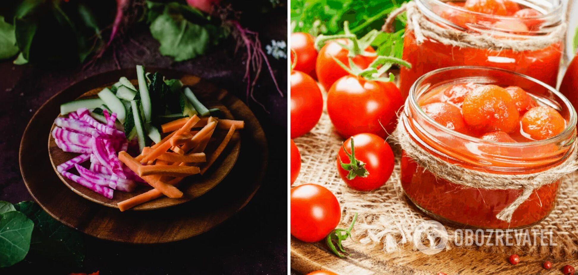 Ингредиенты для борща – овощи аль денте и томаты в собственном соку