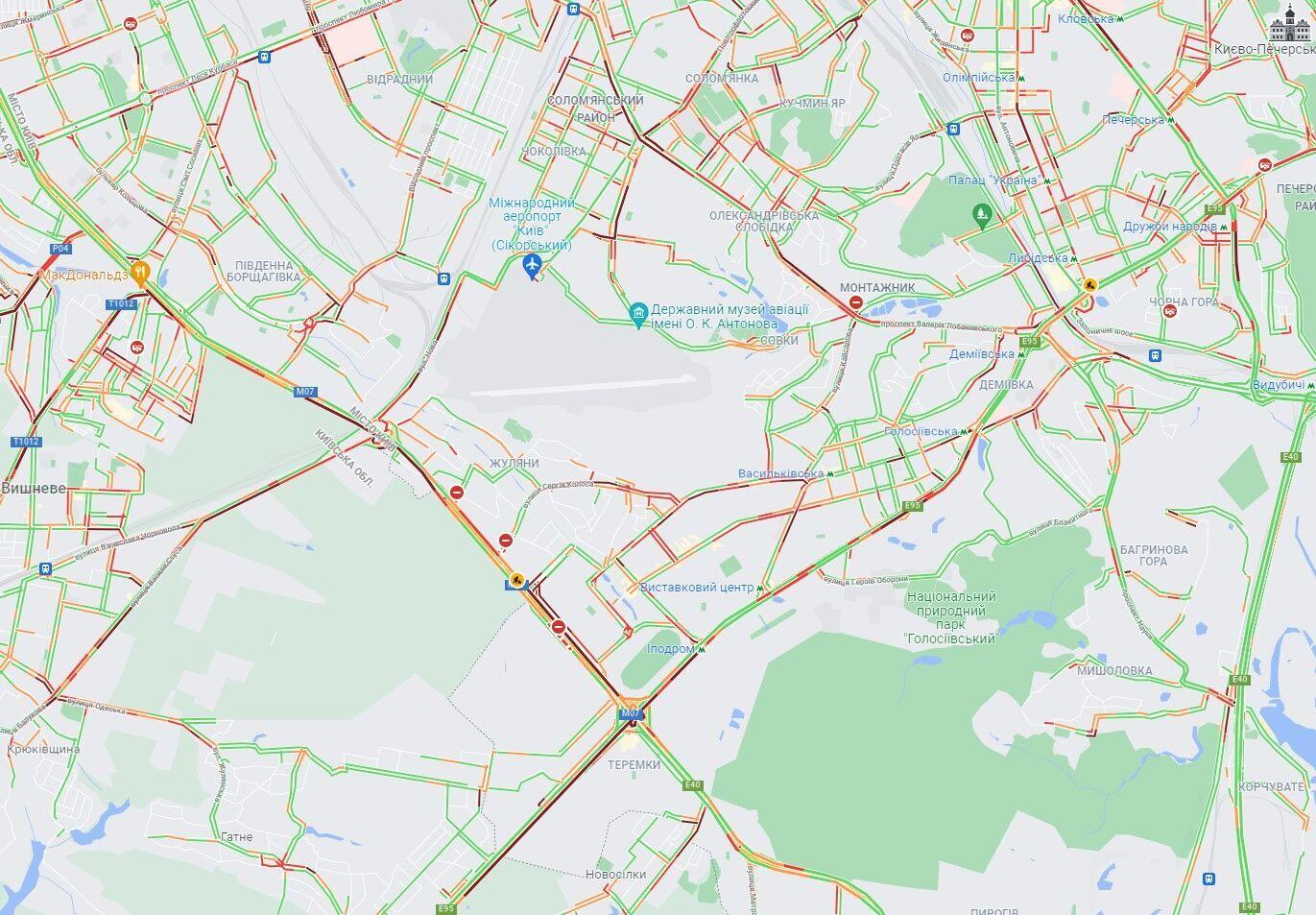 Кільцева дорога, проспекти Голосіївський і Лобановського.