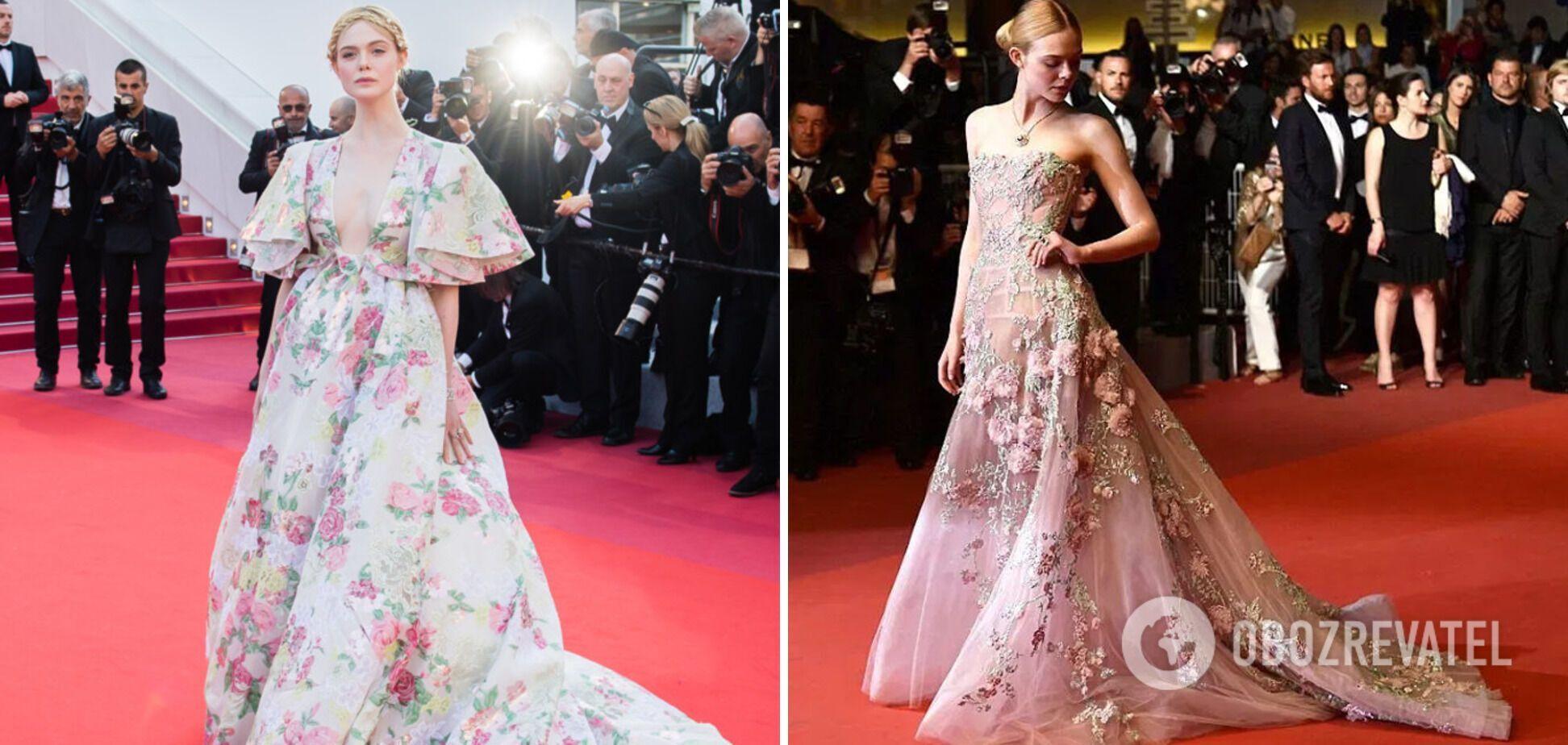 Эль Фаннинг надела платье с цветочным принтом.