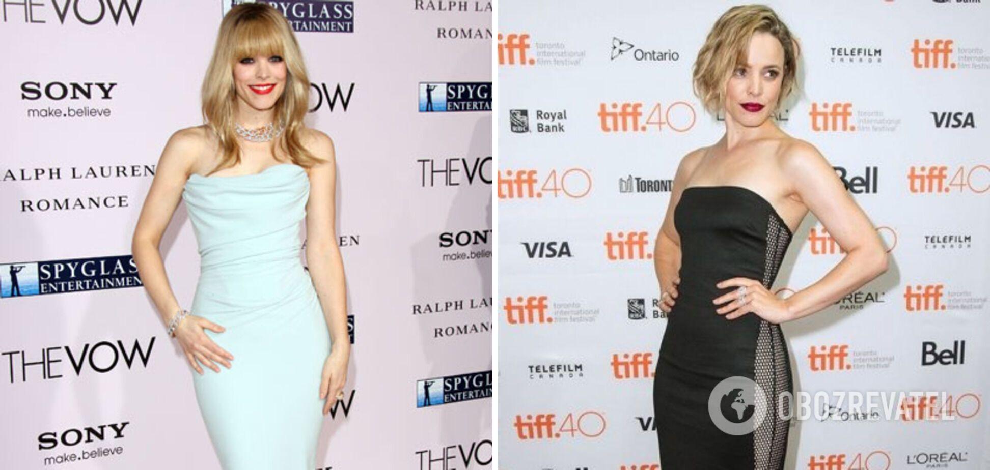 Рэйчел МакАдамс носит платье-футляр со сборкой