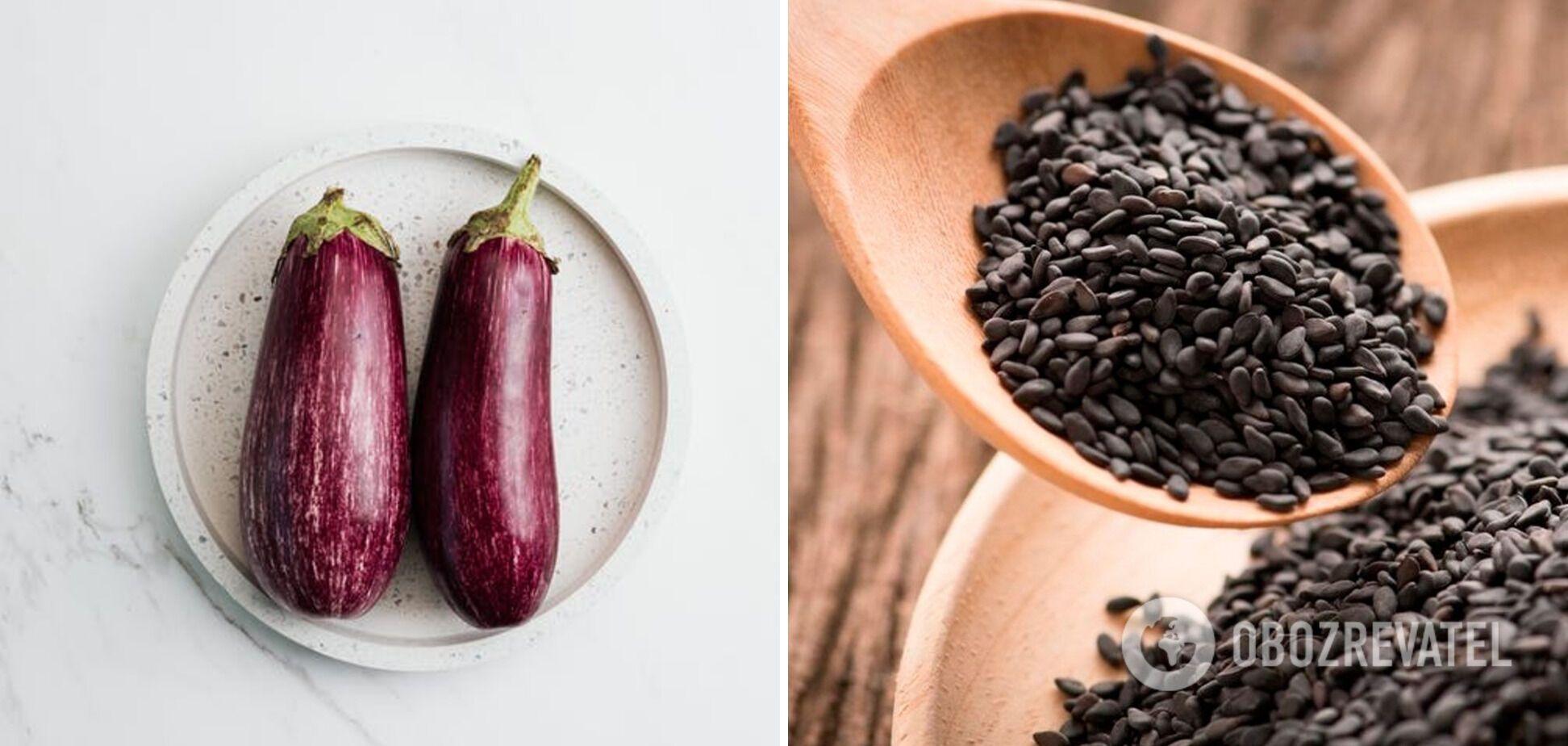 Інгредієнти для бабагануша – баклажан та кунжут