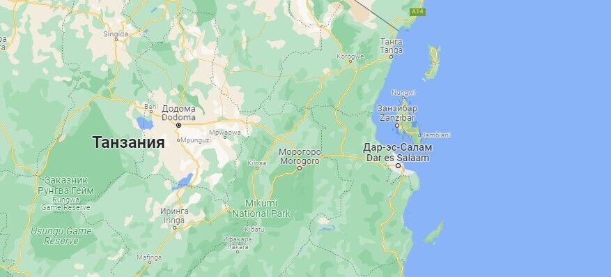 Занзибар на карте