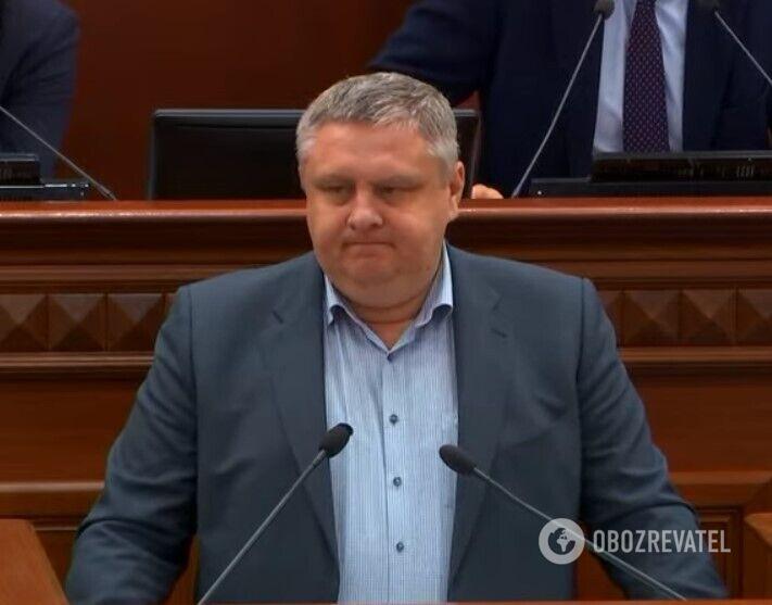 Андрій Крищенко під час виступу в Київській мерії