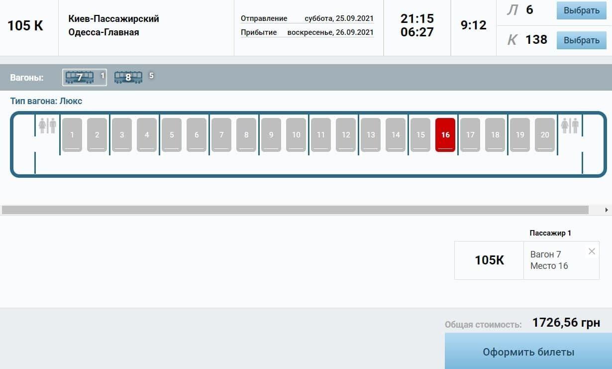 Цена билета на ночной поезд