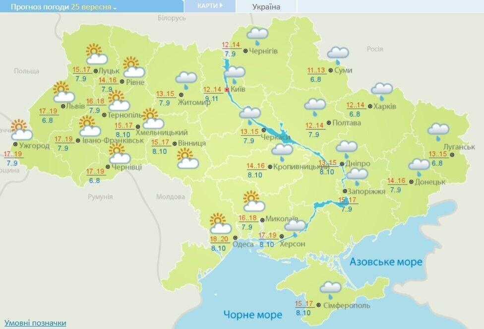 Прогноз погоды в Украине на 25 сентября