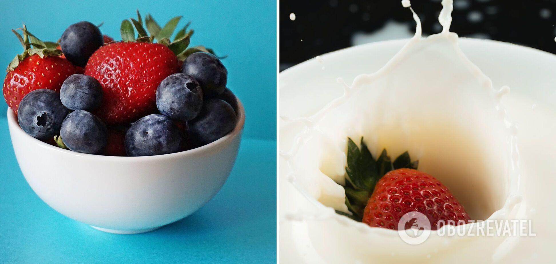 Ингредиенты для сырников – ягоды и греческий йогурт