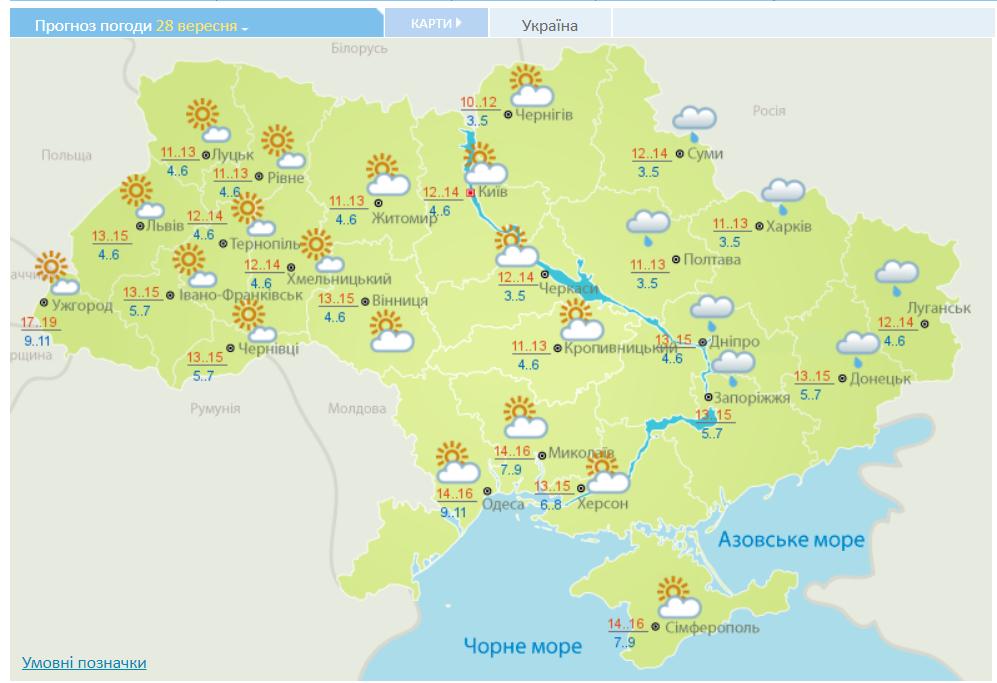 Прогноз погоди в Україні на 28 вересня