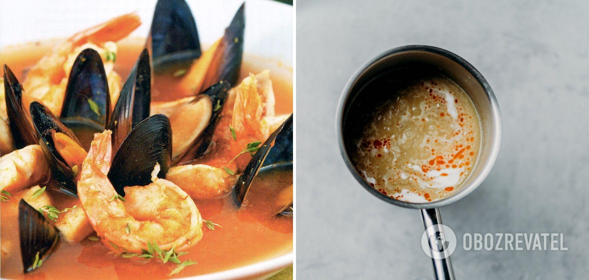 Рыбный суп буйабес с мидиями, креветками и сибасом