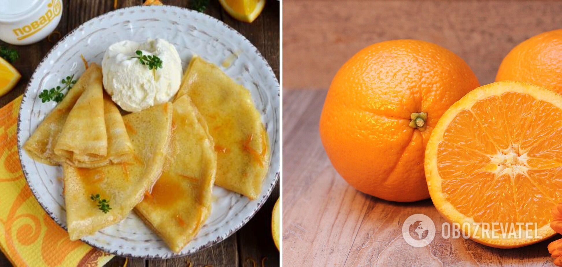 Млинці креп сюзет з апельсиновим соусом