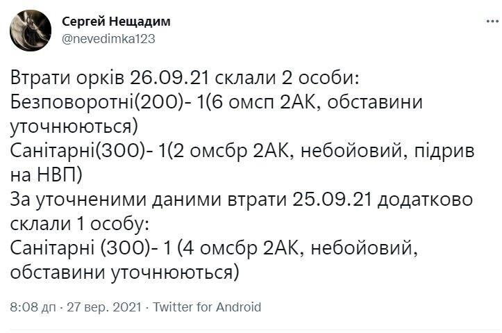 Данные о потерях оккупантов