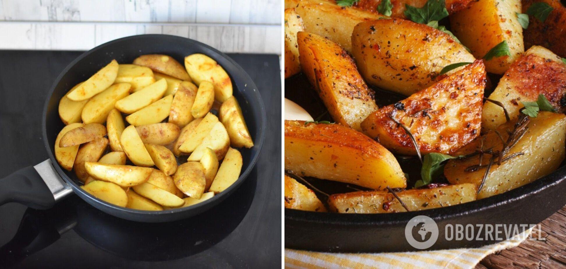Картофель по-деревенски на сковородке