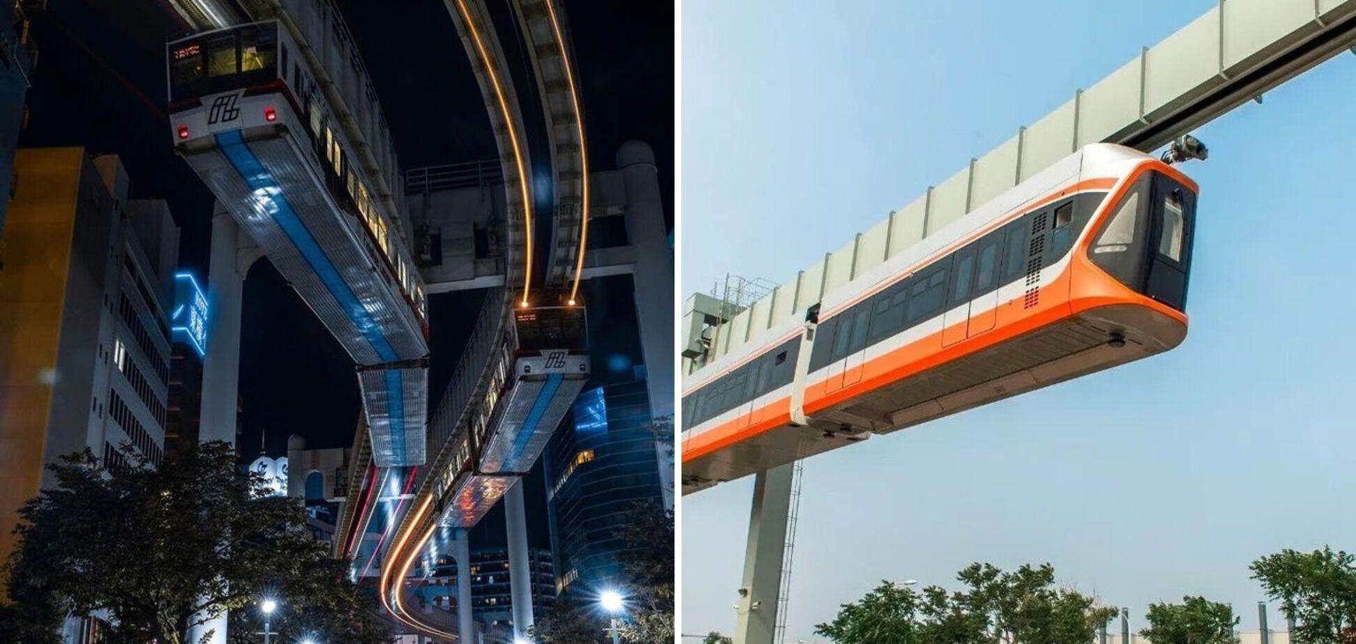 В Японии поезда ездят над землей.
