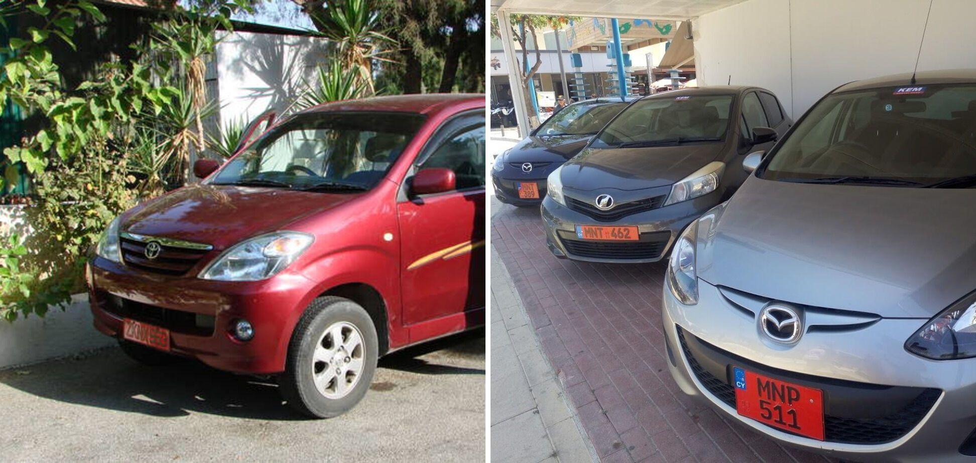 На Кипре номера арендованных авто красные.
