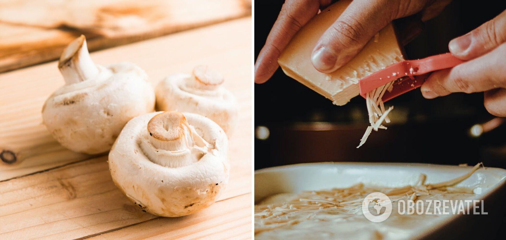 Ингредиенты для деруна – грибы и сыр