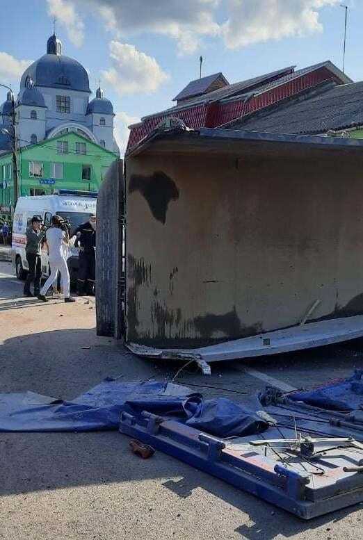 Последствия ДТП в городе Рудки.