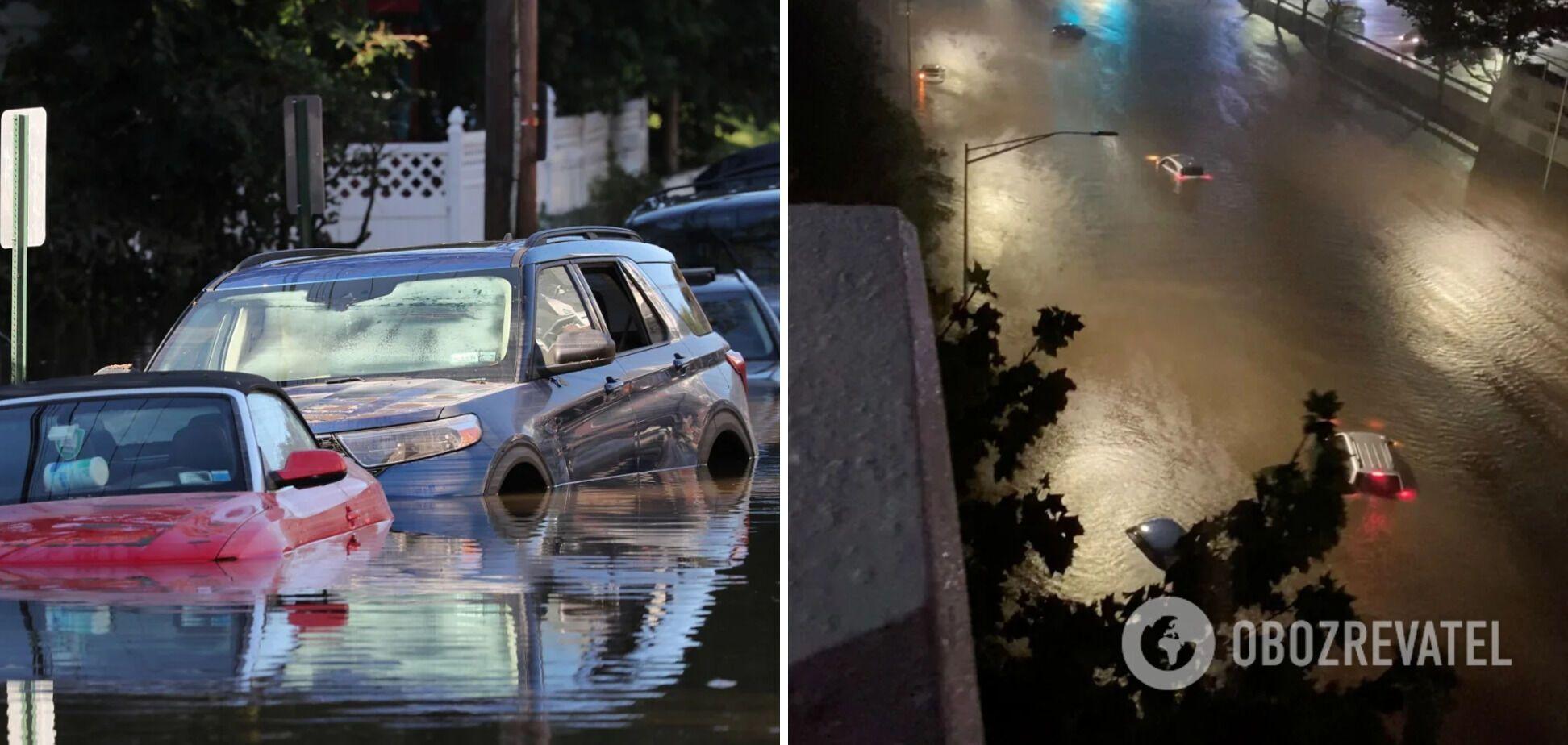Сильный дождь полностью затопил дороги Нью-Йорка