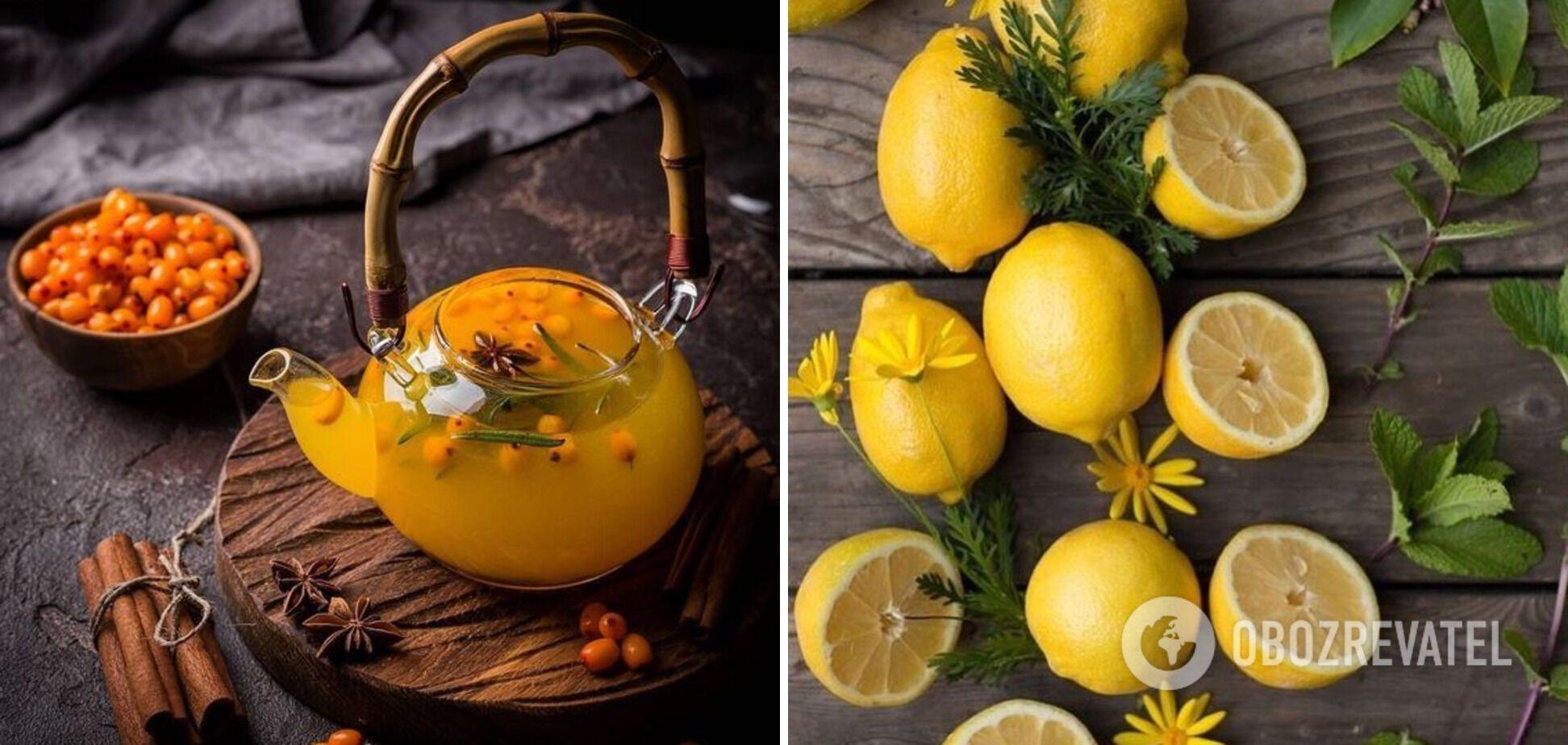 Інгредієнти до чаю – обліпиха та лимон
