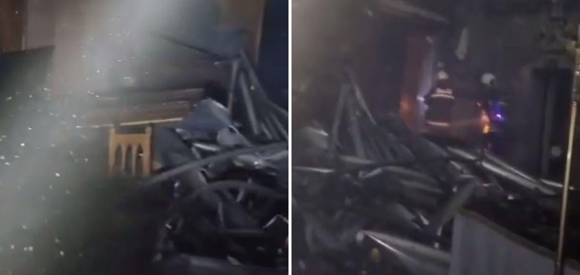 Наслідки пожежі в костелі в Києві