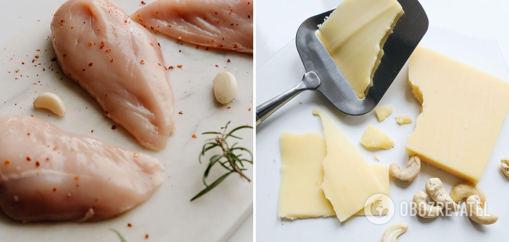 Ингредиенты для салата: сыр, курица и орехи