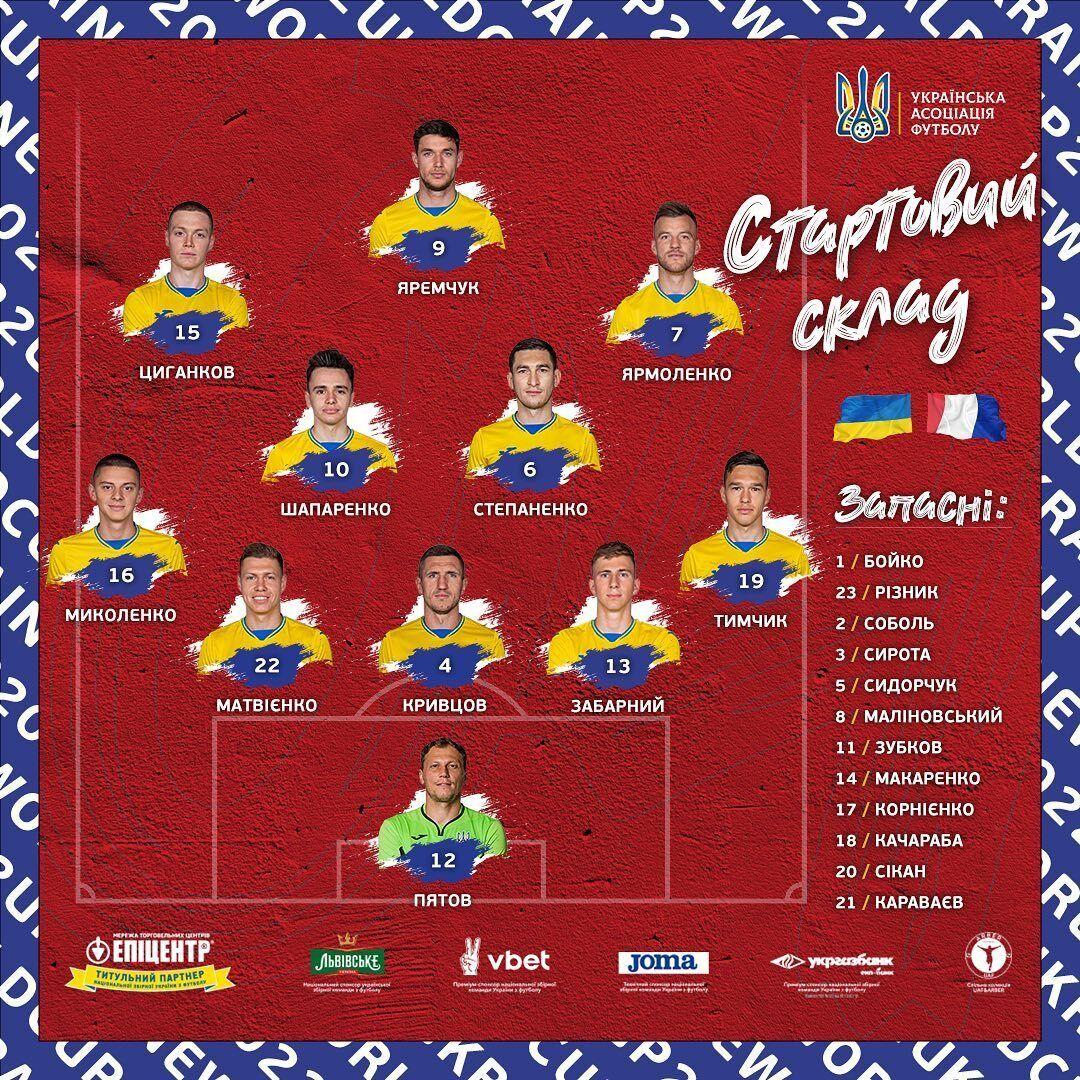 Стартовый состав сборной Украины.